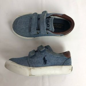 Polo Boys Shoes, Blue Denim Size 8 Velcro